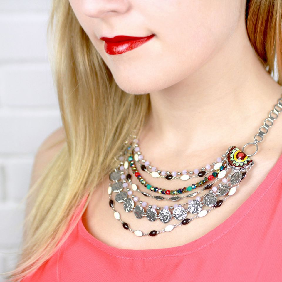 Collier Liz Argent Multi Taratata Bijoux Fantaisie en ligne 1