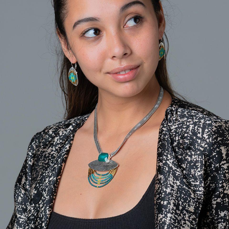 Collier Panthere Bleue Argente Turquoise Taratata Bijoux Fantaisie en ligne 2
