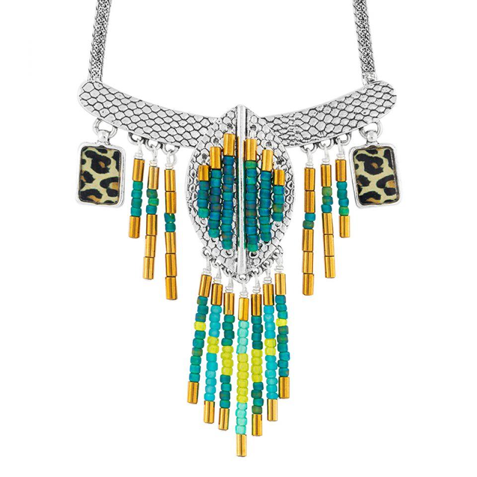 Collier Panthere Bleue Argente Turquoise Taratata Bijoux Fantaisie en ligne 1