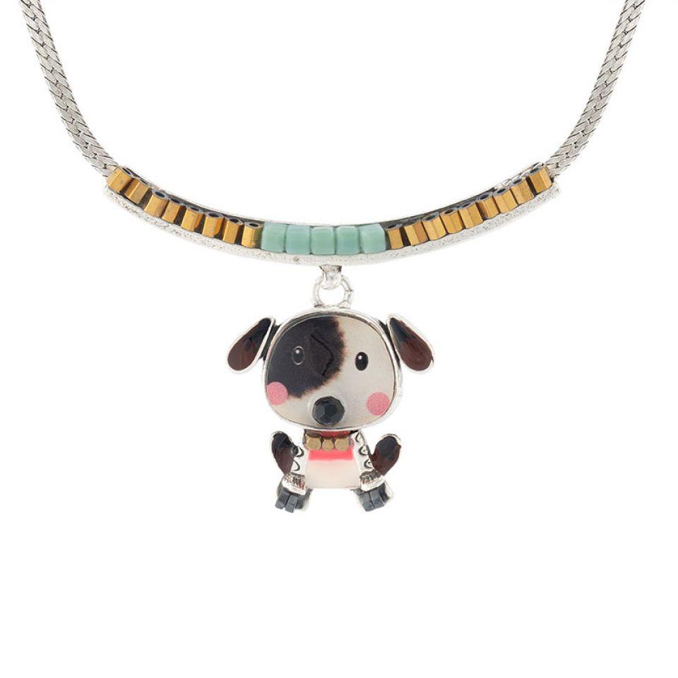 Collier Puppy Couleur Argent Blanc Taratata Bijoux Fantaisie en ligne 1