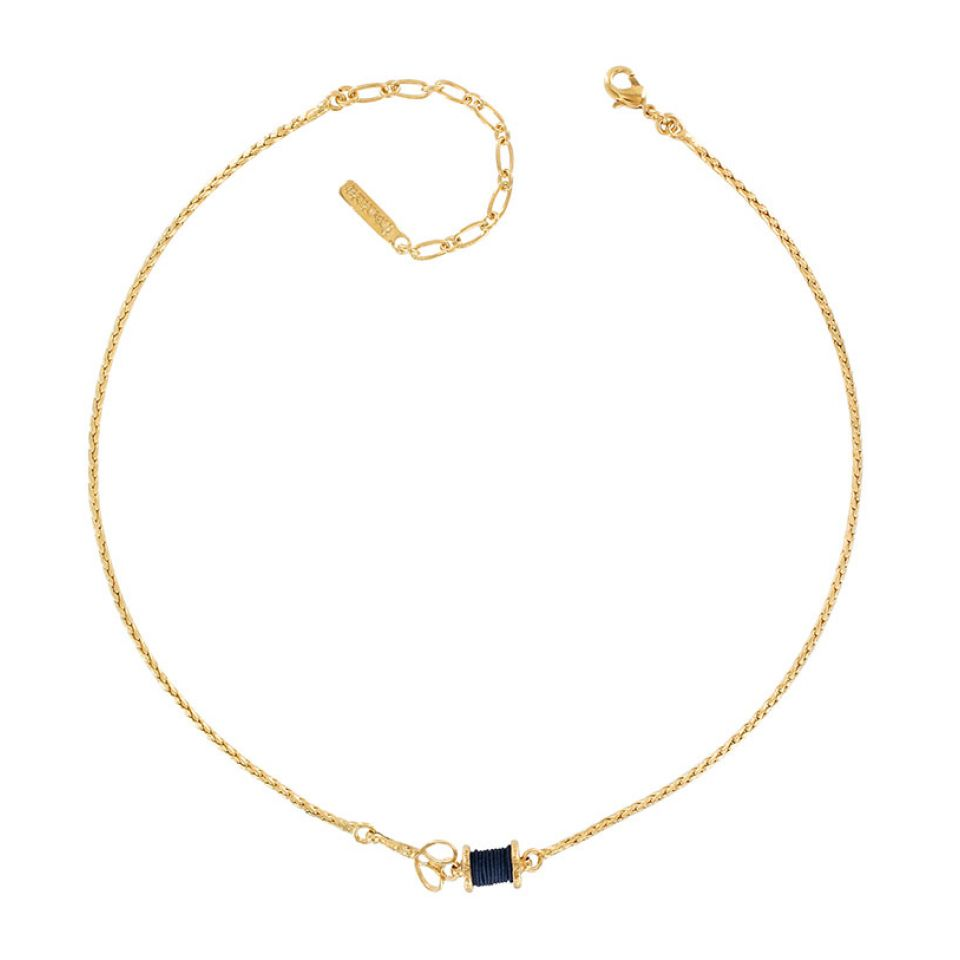 Collier Rembobine Dore Bleu Taratata Bijoux Fantaisie en ligne 1