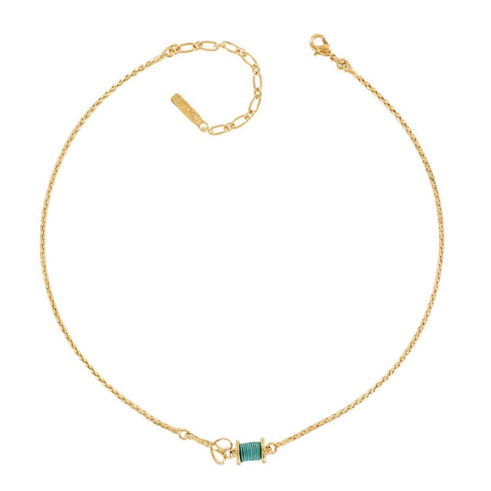 Collier Rembobine Dore Turquoise Taratata Bijoux Fantaisie en ligne 1