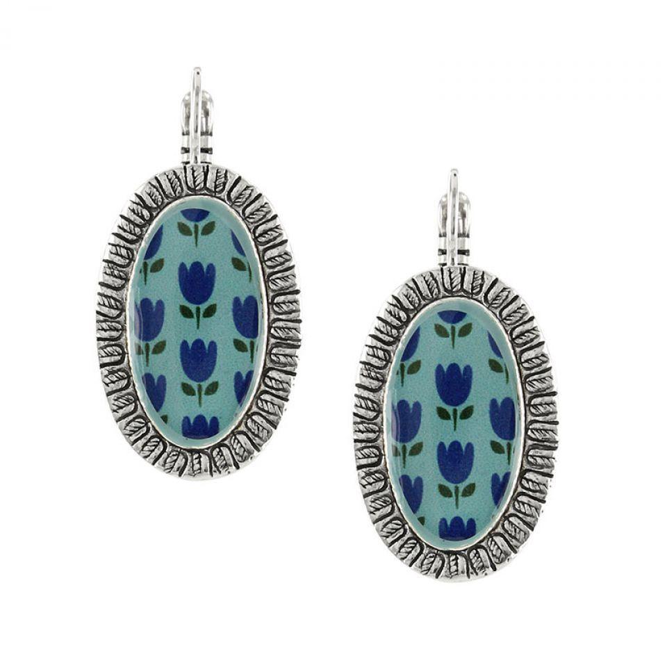 Dormeuses Colette Argent Bleu Taratata Bijoux Fantaisie en ligne 2