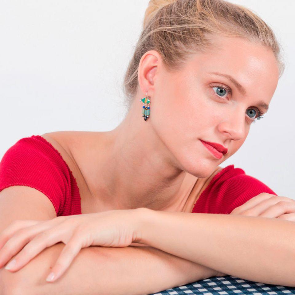 Dormeuses Corail Argent Vert Taratata Bijoux Fantaisie en ligne 2
