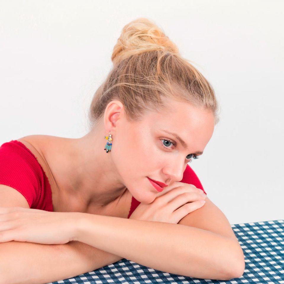 Dormeuses Corail Argent Jaune Taratata Bijoux Fantaisie en ligne 1
