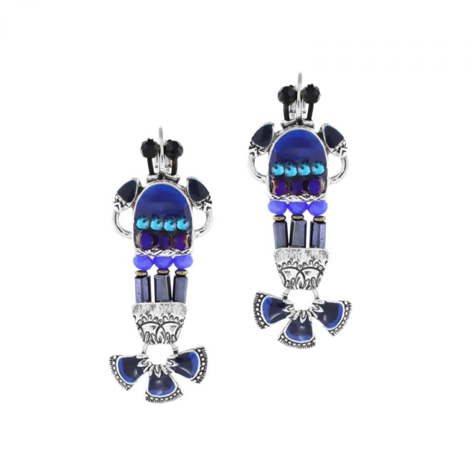 Dormeuses Corail Argent Bleu Taratata Bijoux Fantaisie en ligne 1