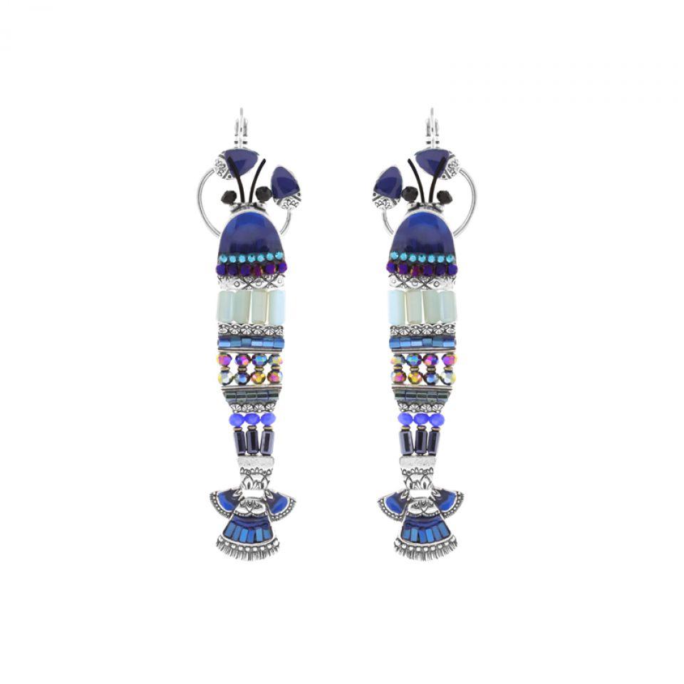 Dormeuses Corail Argent Bleu Taratata Bijoux Fantaisie en ligne 2