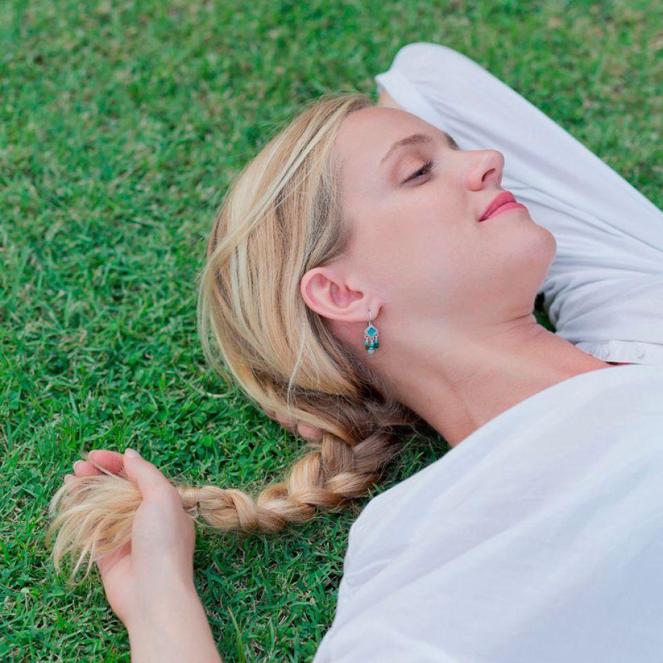Dormeuses Esperanza Argent Bleu Taratata Bijoux Fantaisie en ligne 2