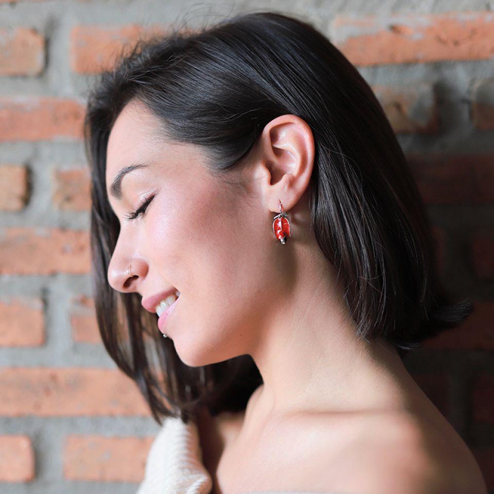 Dormeuses Gina Argent Rouge Taratata Bijoux Fantaisie en ligne 2