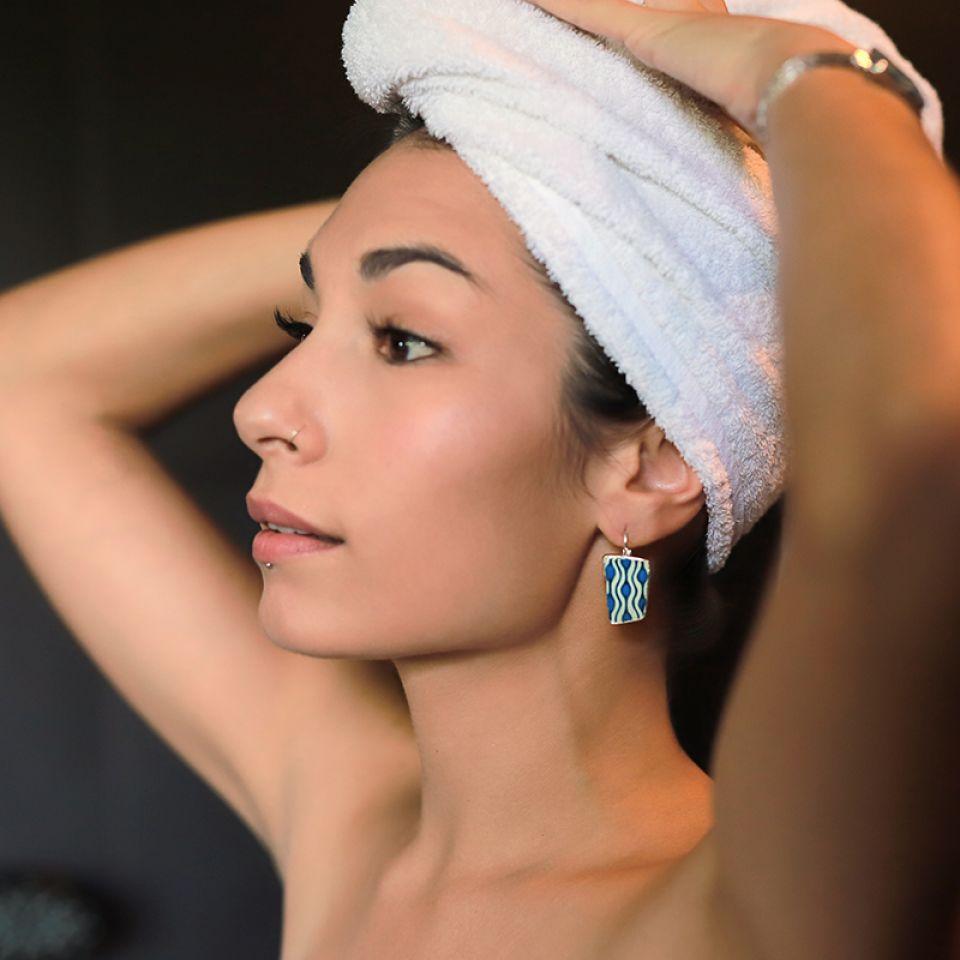 Dormeuses Gombos Argent Bleu Taratata Bijoux Fantaisie en ligne 2