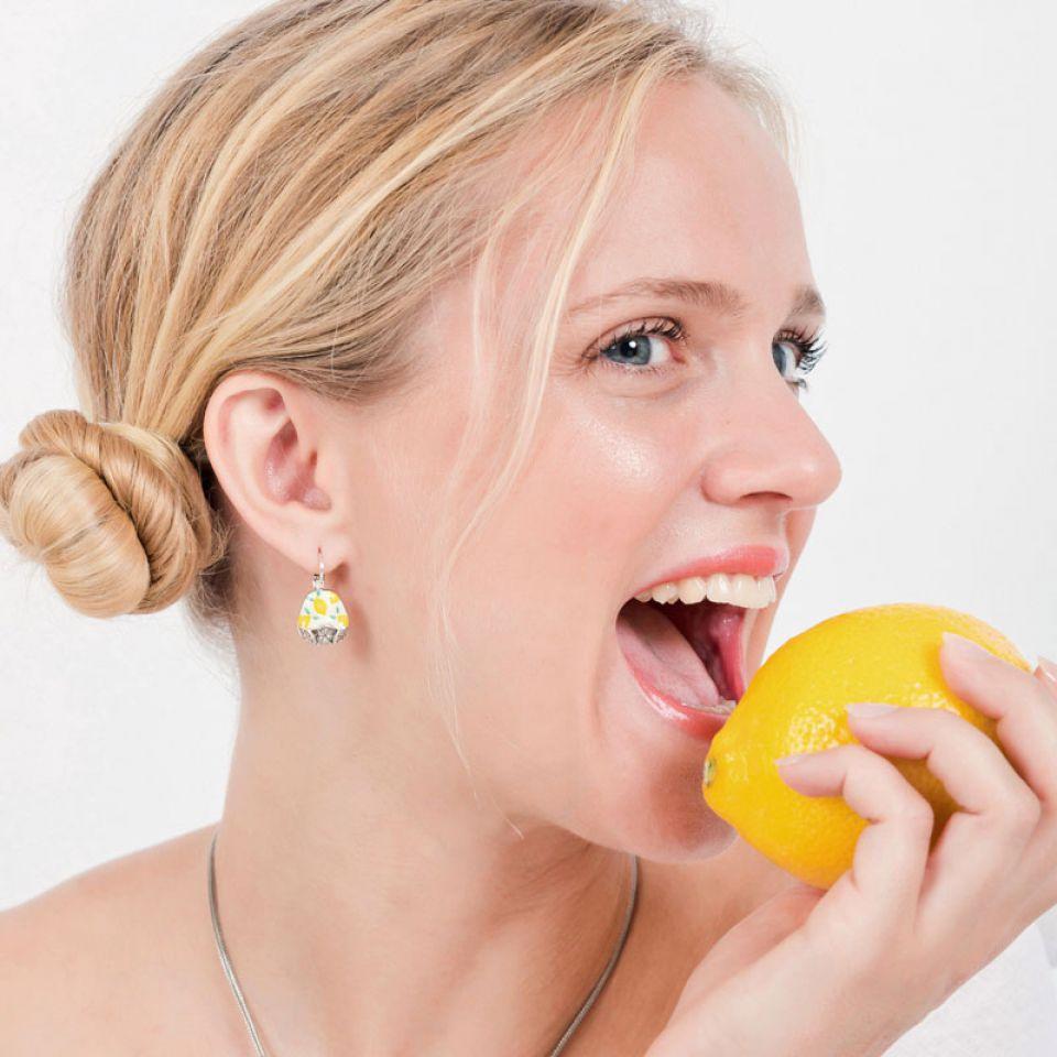 Dormeuses Lemon Argent Jaune Taratata Bijoux Fantaisie en ligne 2