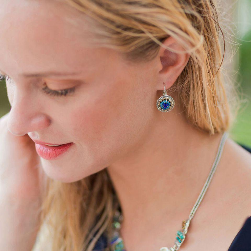 Dormeuses Montmartre Argent Bleu Taratata Bijoux Fantaisie en ligne 2