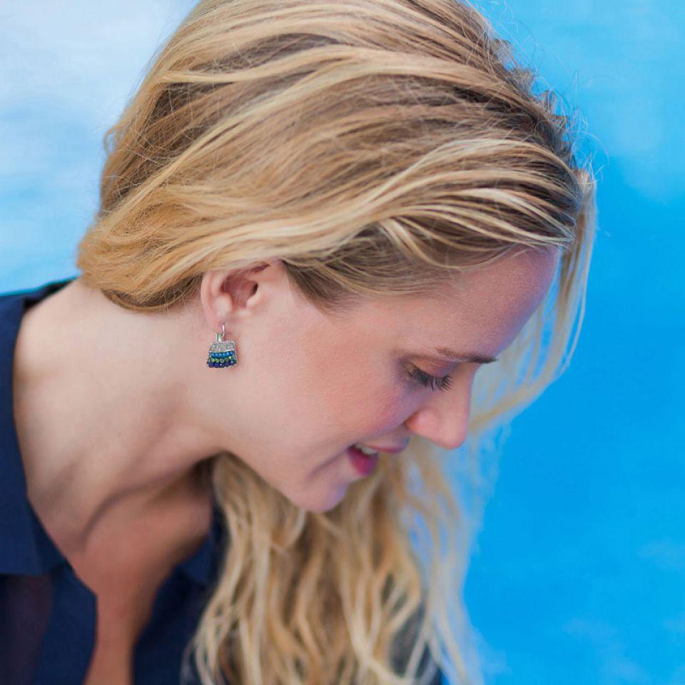 Dormeuses Montmartre Argent Bleu Taratata Bijoux Fantaisie en ligne 3