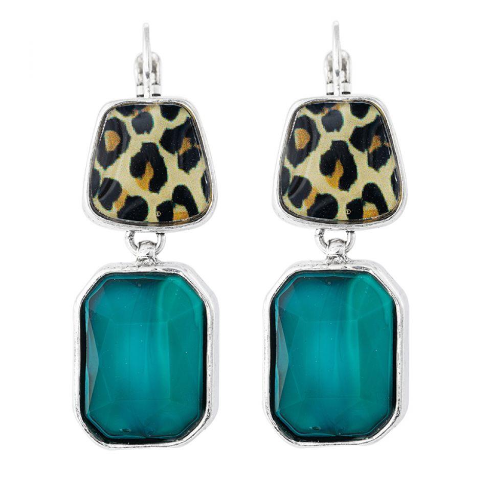 Dormeuses Panthere Bleue Argente Turquoise Taratata Bijoux Fantaisie en ligne 1