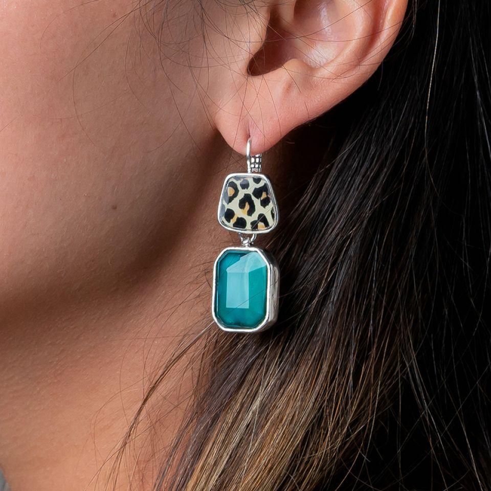 Dormeuses Panthere Bleue Argente Turquoise Taratata Bijoux Fantaisie en ligne 2