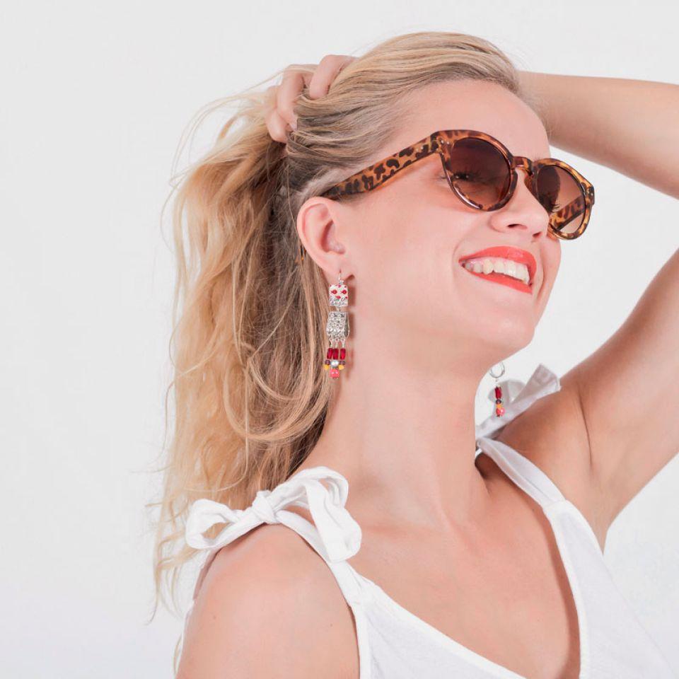 Dormeuses Ravissante Argent Rouge Taratata Bijoux Fantaisie en ligne 1