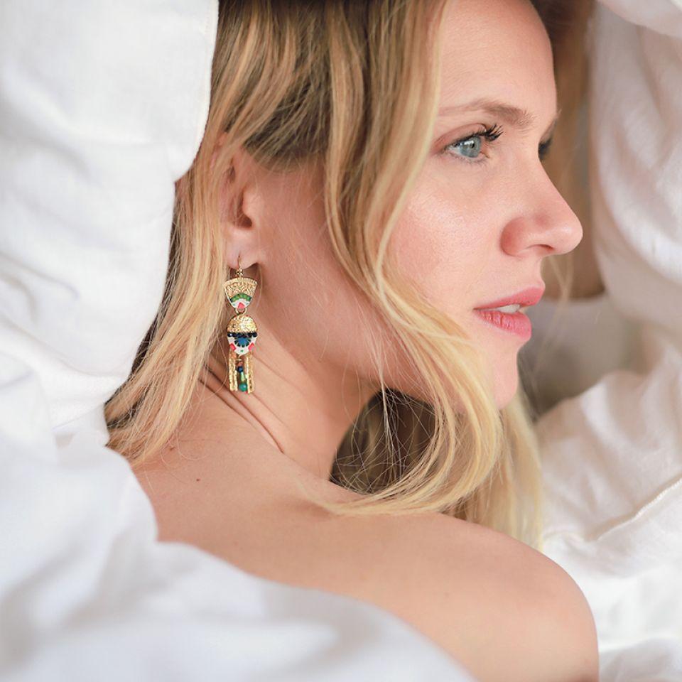 Dormeuses Romeo Dore Bleu Taratata Bijoux Fantaisie en ligne 1