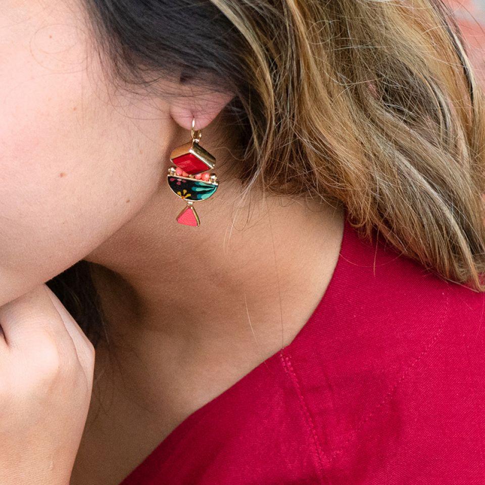 Dormeuses Rose Bonbon Dore Rouge Taratata Bijoux Fantaisie en ligne 2