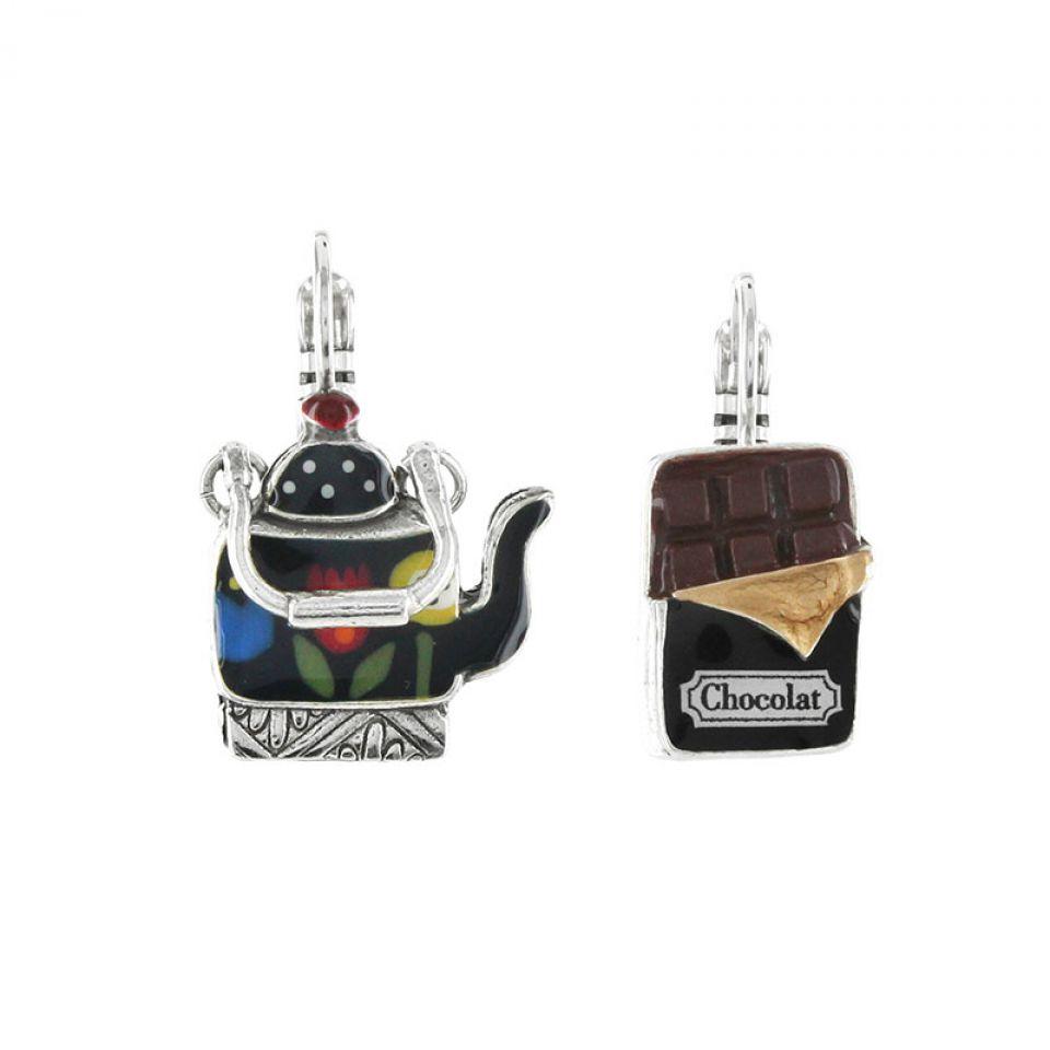 Dormeuses Tea For Two Argent Multi Taratata Bijoux Fantaisie en ligne 1