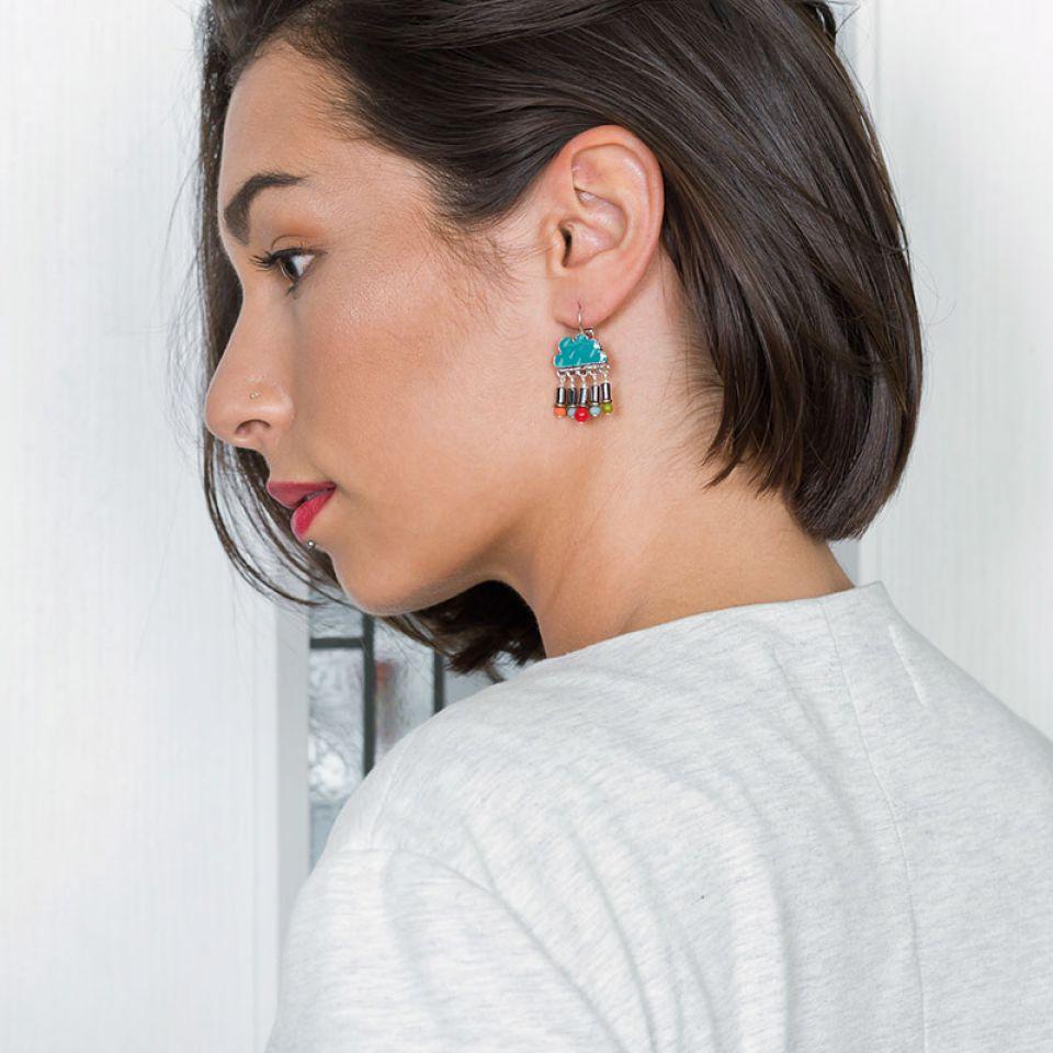 Dormeuses Week-end Argent Multi Taratata Bijoux Fantaisie en ligne 1