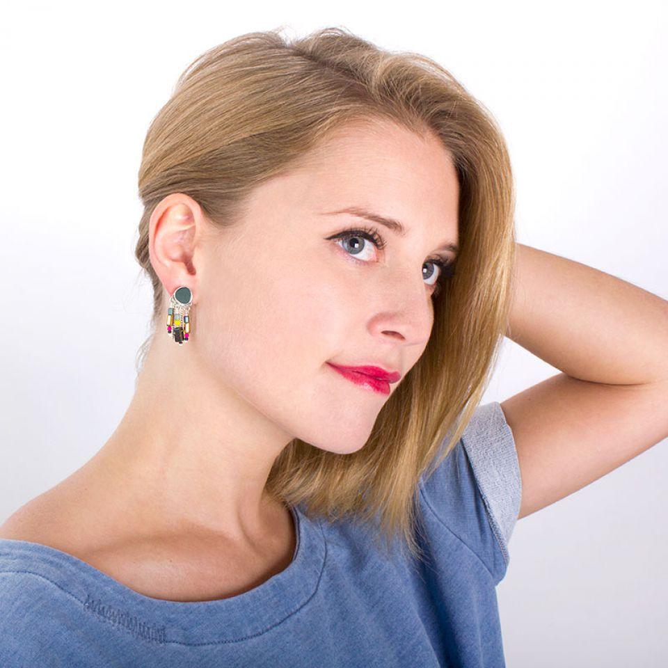 Puces Chloe Argent Multi Taratata Bijoux Fantaisie en ligne 2