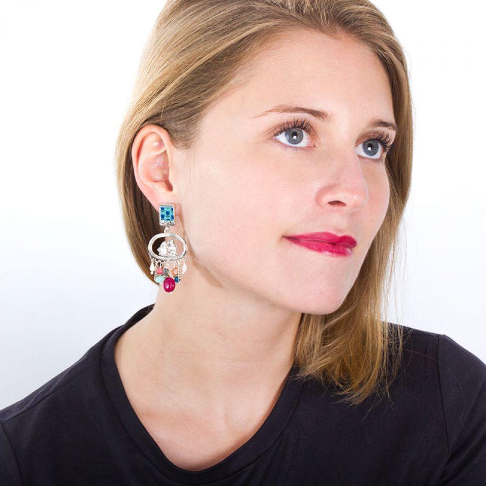 Puces Colette Argent Multi Taratata Bijoux Fantaisie en ligne 2