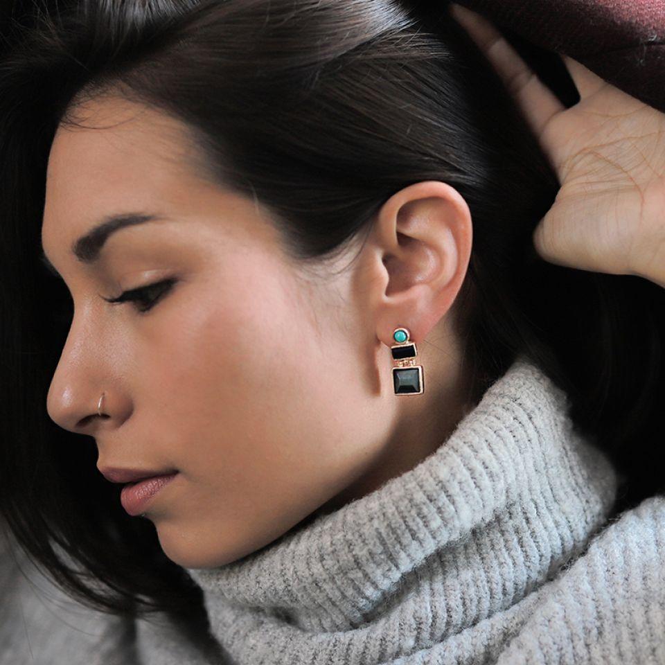 Puces Face A Face Dore Multi Taratata Bijoux Fantaisie en ligne 2
