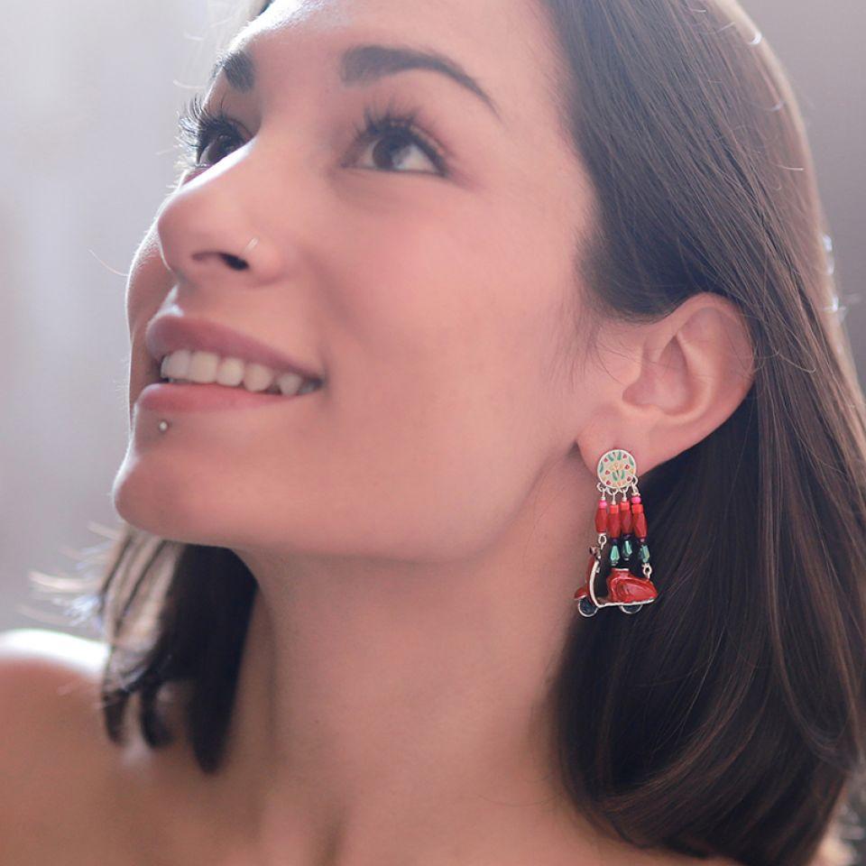 Puces Gina Argent Rouge Taratata Bijoux Fantaisie en ligne 2