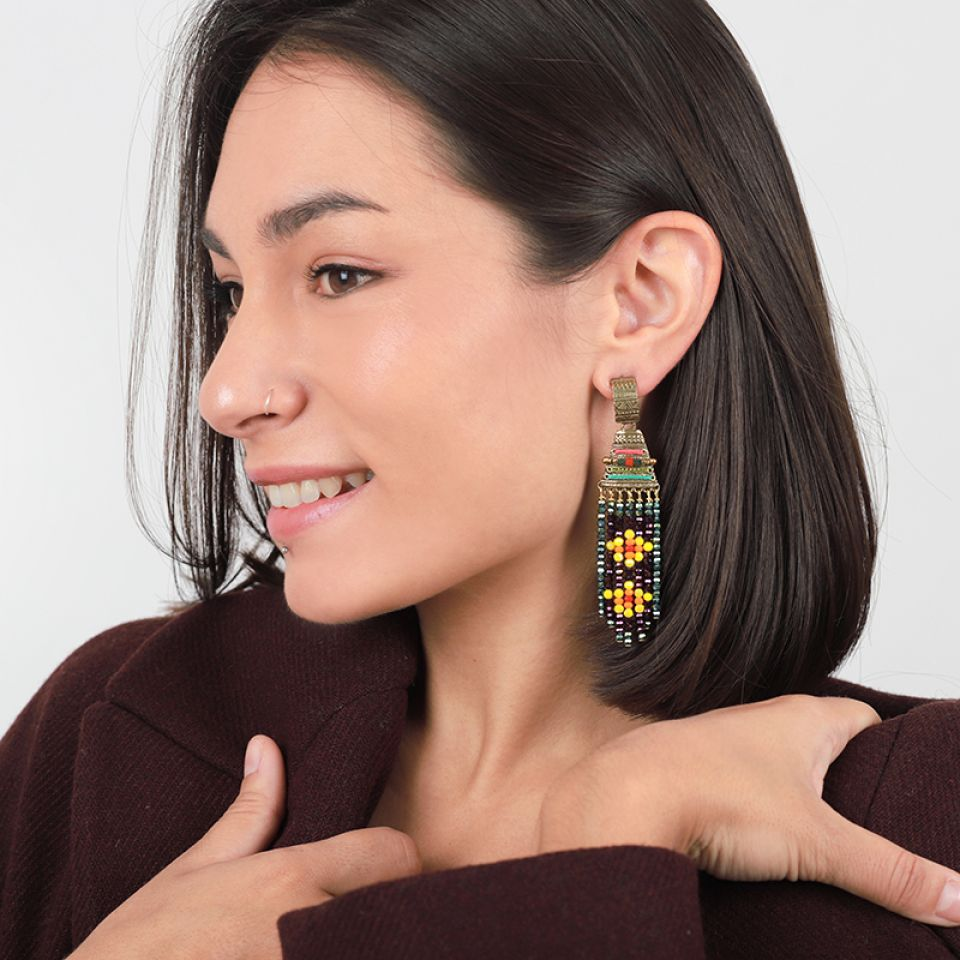 Puces Kilim Bronze Multi Taratata Bijoux Fantaisie en ligne 2