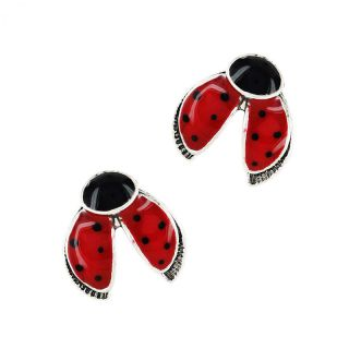 Puces Ladybird Argent Rouge