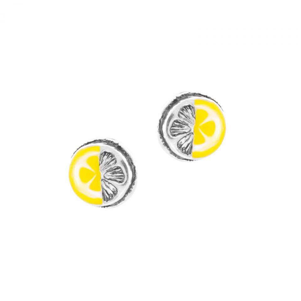 Puces Lemon Argent Jaune Taratata Bijoux Fantaisie en ligne 1