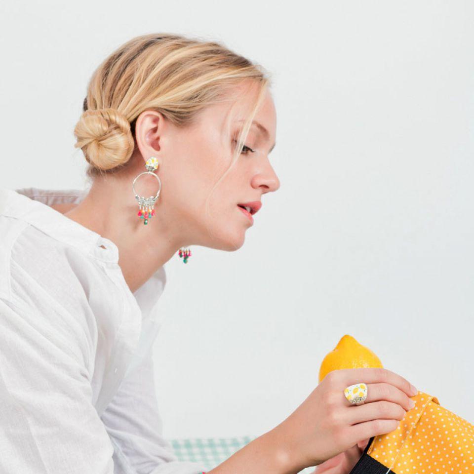 Puces Lemon Argent Multi Taratata Bijoux Fantaisie en ligne 2
