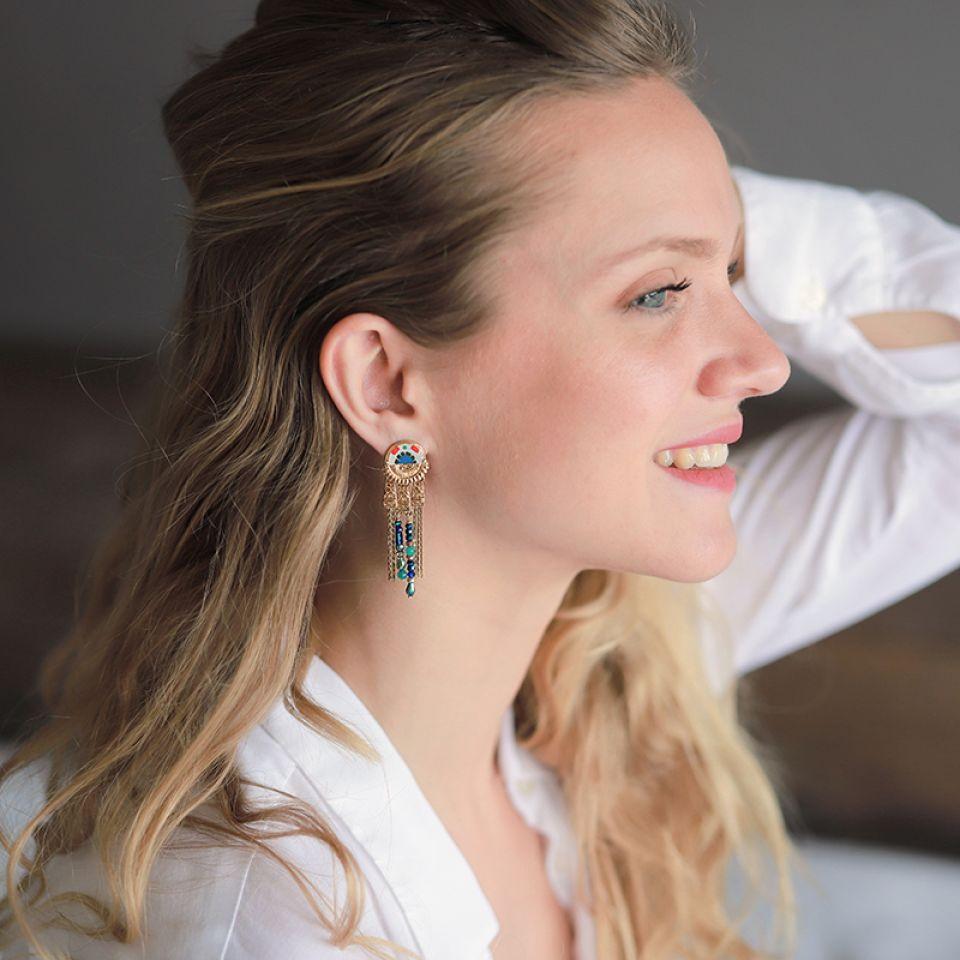 Puces Romeo Dore Bleu Taratata Bijoux Fantaisie en ligne 2