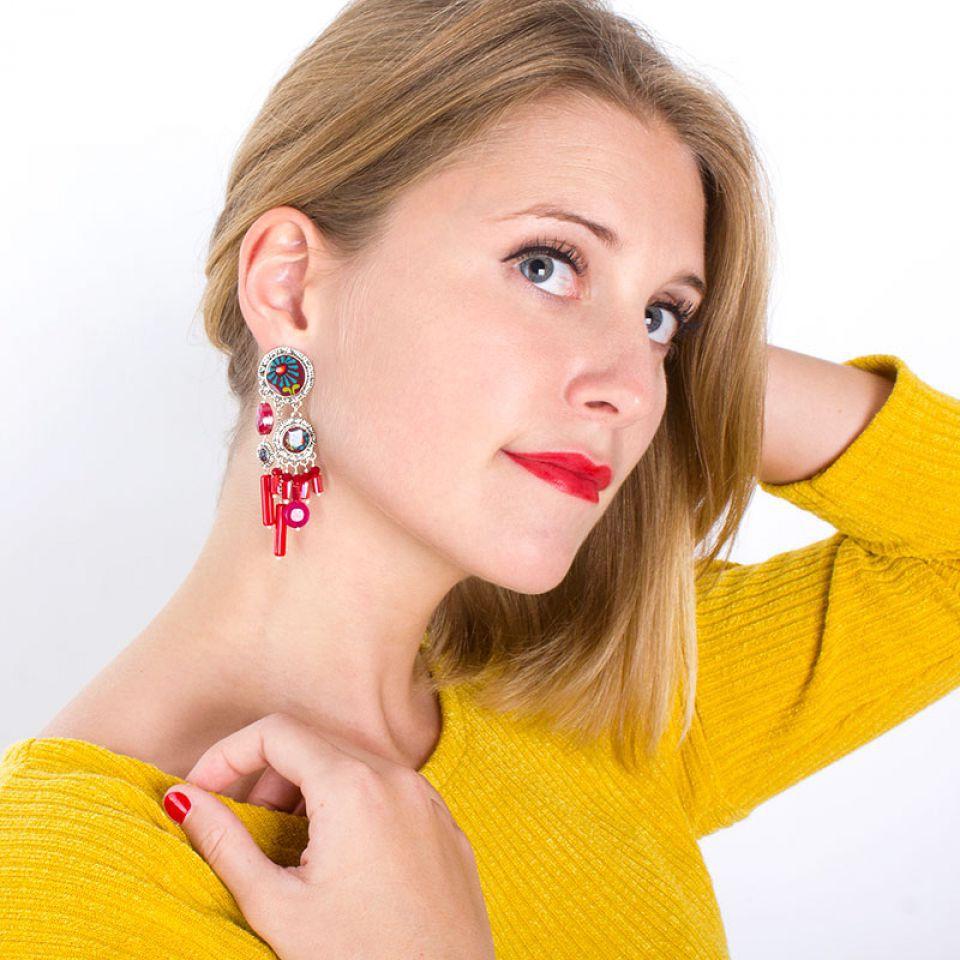 Puces Ruby Argent Rouge Taratata Bijoux Fantaisie en ligne 2