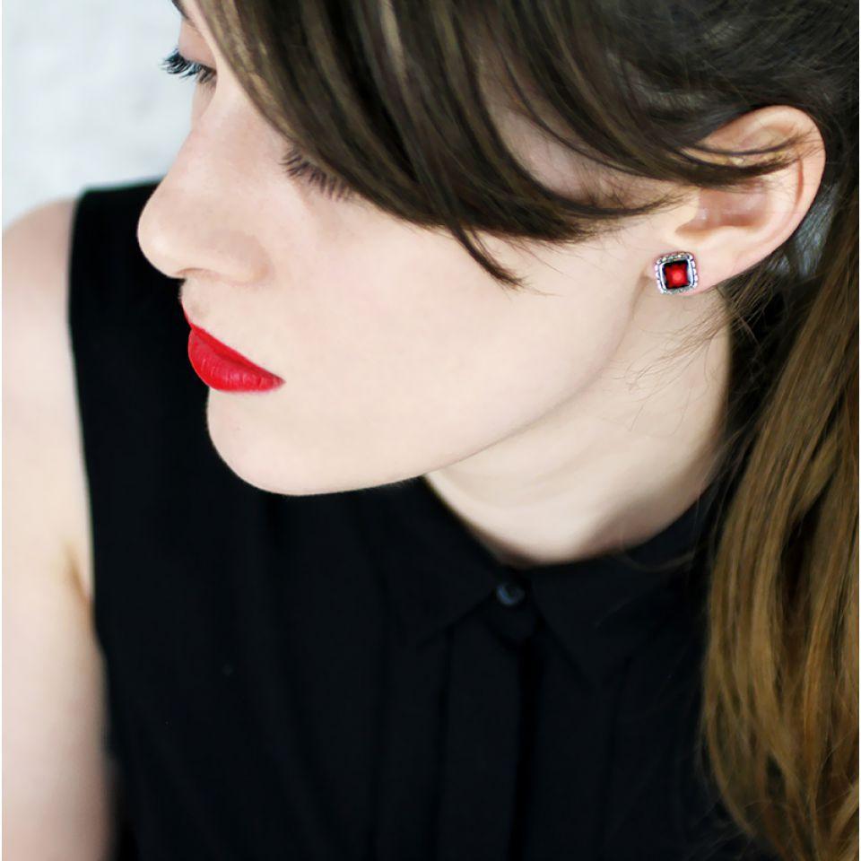Puces Sevres  Argent Rouge Taratata Bijoux Fantaisie en ligne 2