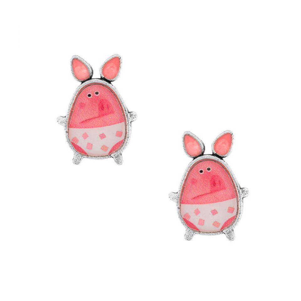 Puces Temps De Cochon Couleur Argent Rose Taratata Bijoux Fantaisie en ligne 1